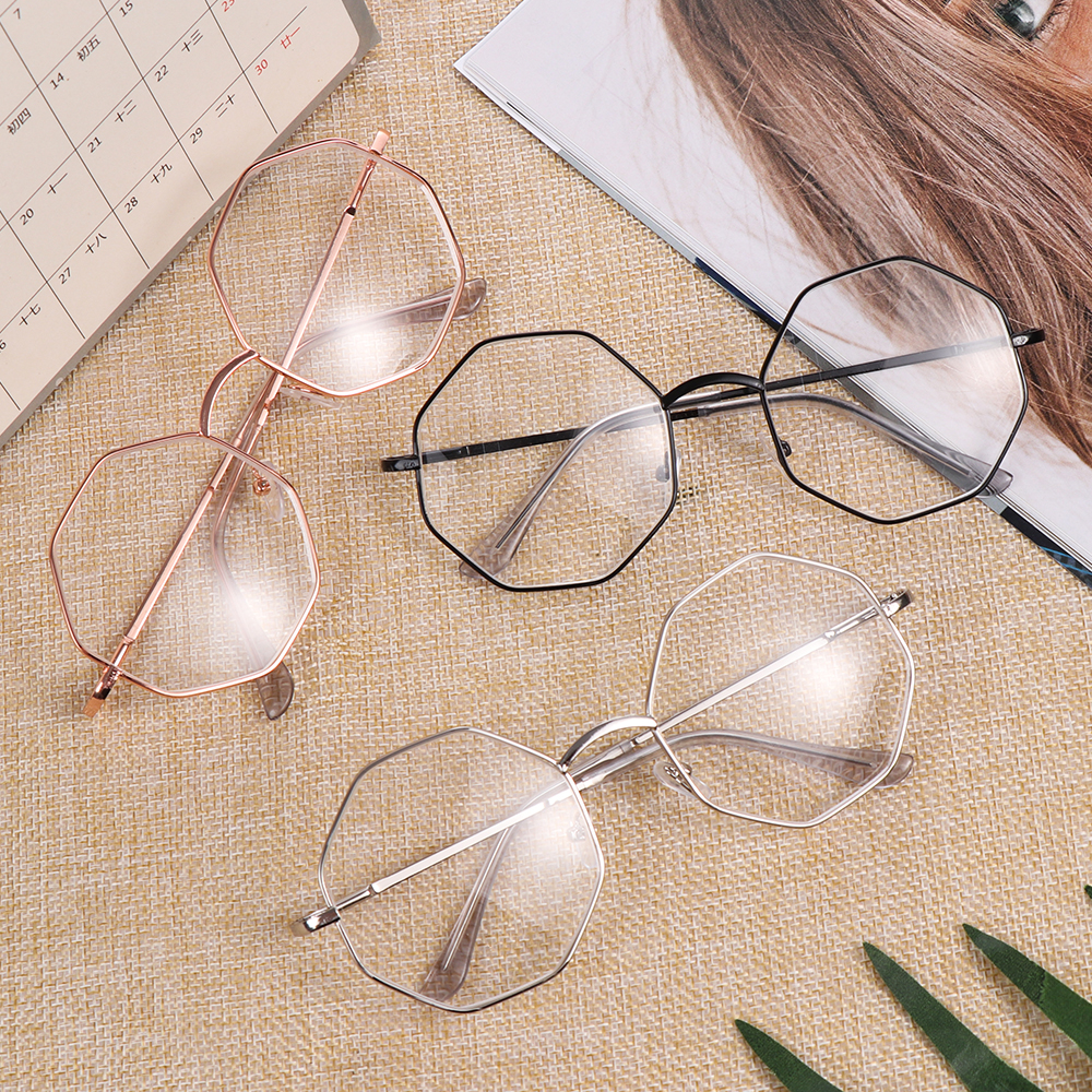 New Fashion Metal Vintage Polygon Myopia Glasses 1Pcs Women Men Ultra Light Resin Reading Glasses Vision Care -1.00~-4.0 Diopter