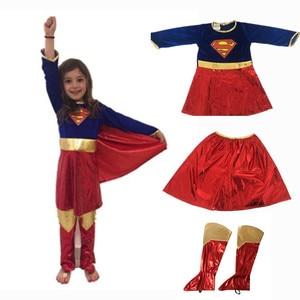 Image 2 - Kids Superhero Cosplay Costumes Super Girls Dress Shoe Covers Suit Superwoman Dress Woman Super Hero For Kids Halloween Clothes
