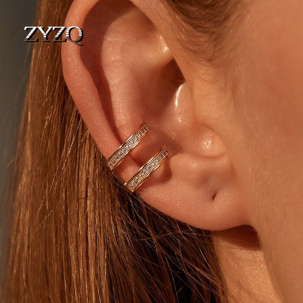 ZYZQ Exquisite Rhinestone Double C Ear Cuffs U-Shaped Ear Cuff Clip Earrings For Women No Piercing Fake Cartilage Brincos 2020