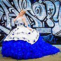 White and Royal Blue Quinceanera Dresses 2020 Ruffles With Embroidery Sweet 16 Dress Ball Gown Vestidos De 15 Anos