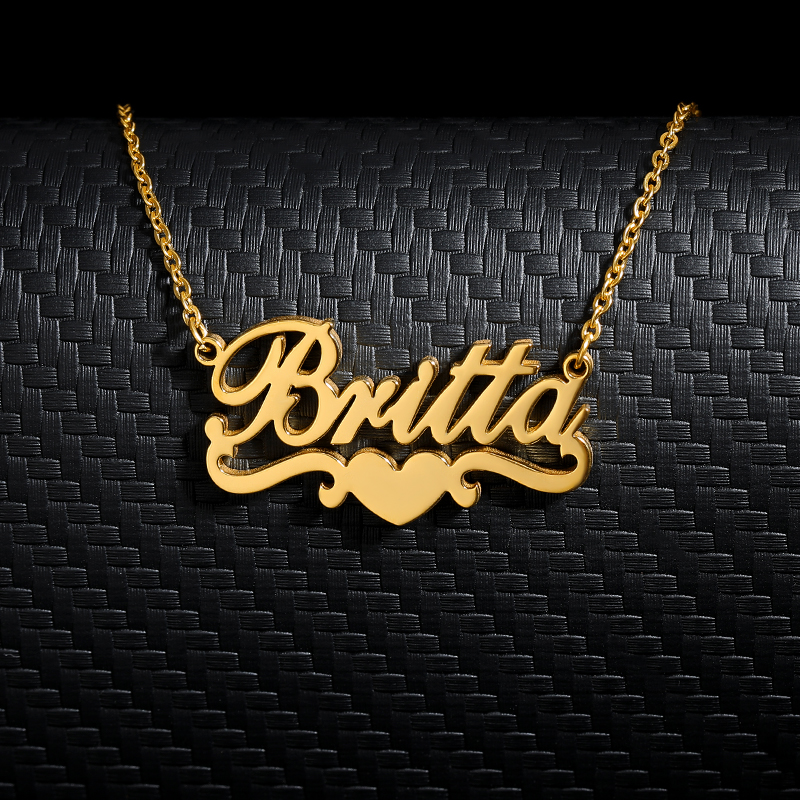 Custom Name Heart Necklace Personalized Jewelry Stainless Steel Gold Chain Ribbon Nameplate Pendant Choker Bridesmaid Gifts BFF