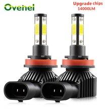 OVEHEL H7 LED سيارة العلوي 4 الجانب 360 مصباح إضاءة متدرج 14000LM H8 H9 H11 الصمام العلوي BulbHB3 9005 HB4 9006 سيارة أضواء لمبة 6000K