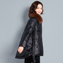 Genuine Leather Jacket Women Winter Duck Down Coat Female Real Fox Fur Collar Natural Sheepskin Outwear Slim Coats Hiver 19969(China)