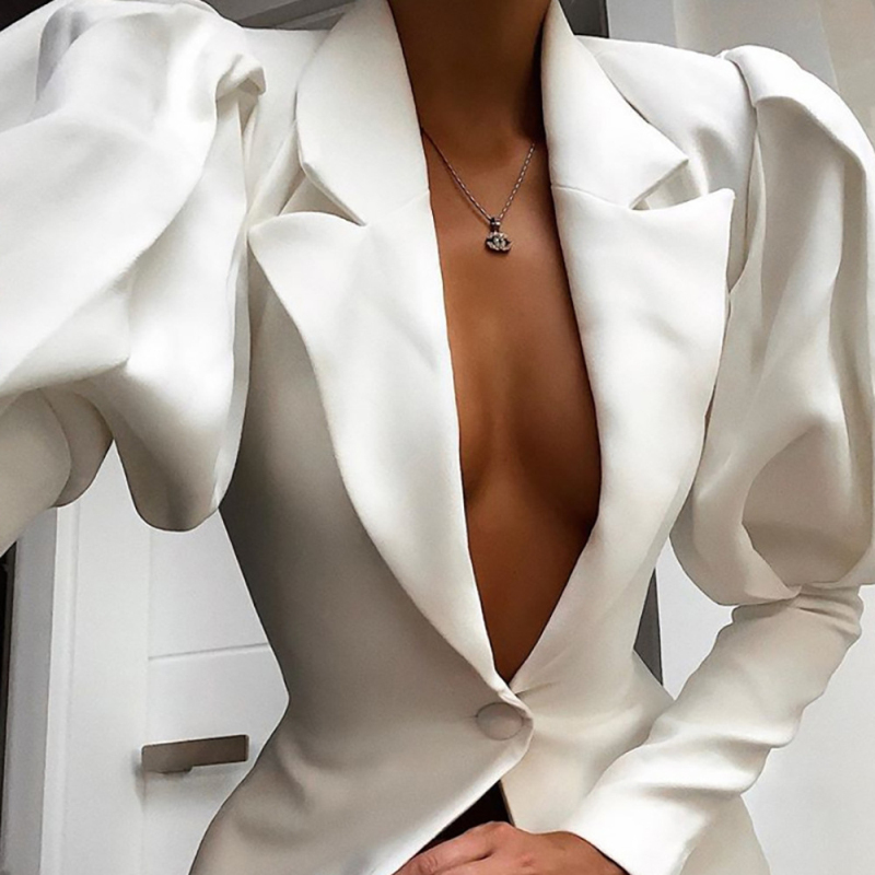 Elegant Professional Mini Woman Suits Dress Breasted Blazer Jacket OL Buttons Lantern Sleeve Mini Dress