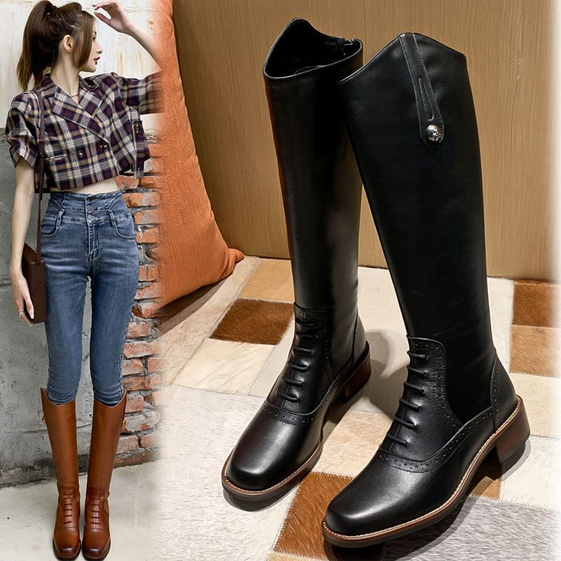 Autumn And Winter Retro New Ankle Boots Classics Zip Western Cowboy Boots Square Toe Leather Patchwork Knee-High Boots Botas