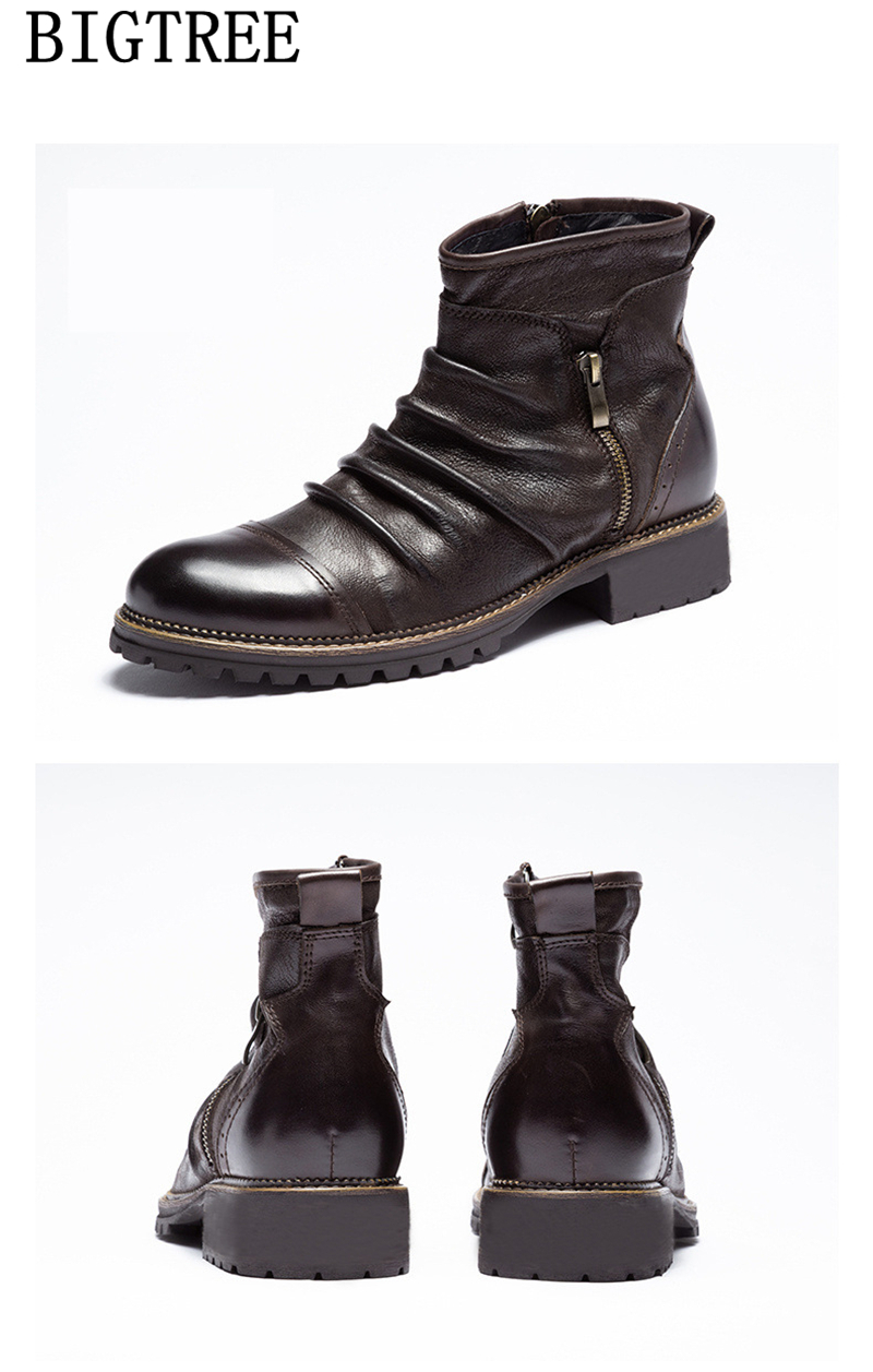 Botas de couro dos homens botas de