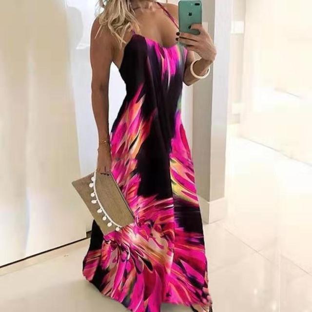 S-5XL Sling Retro Leaf Print Dress Sexy Spaghetti Sling V-neck Long Dress Female Summer Big Swing Beach Dresses Party Vestido 4