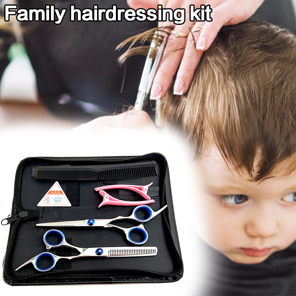 6.0 Hair Scissors Set Haircut Razor Barber Scissors Professional Thinning Shears Hairdressing Scissor Kit with Leather Bag Comb