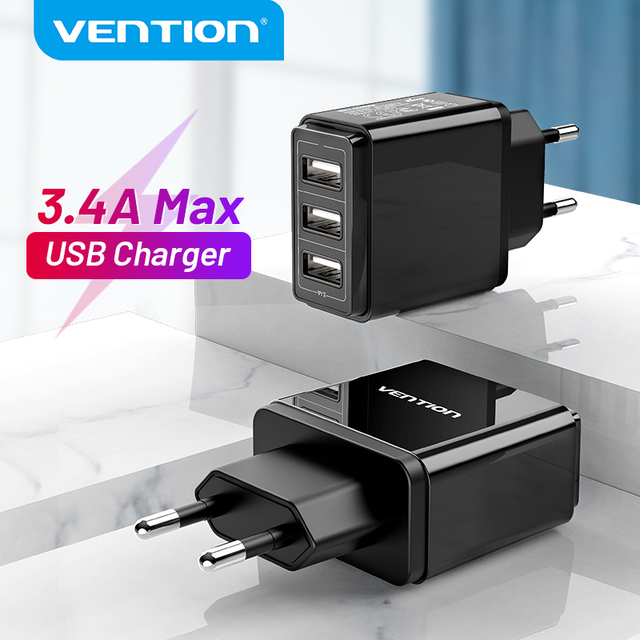 Vention USB Charger USB Wall Charger EU Adapter for iphone Xs 12 11 Samsung Huawei Mate 30 Xiaomi Fast Wall Mobile Phone Charger