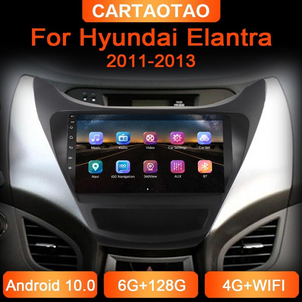 6G + 128G 2din автомобильный dvd-плеер на основе Android для Hyundai Elantra 2011-2013 автомобиль радио GPS навигации WI-FI RDS DSP мультимедийный плеер 2din