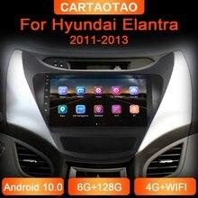 Leitor de dvd do carro de 6g + 128g 2din android para hyundai elantra 2011-2013 rádio do carro navegação gps wifi rds dsp multimídia jogador 2din