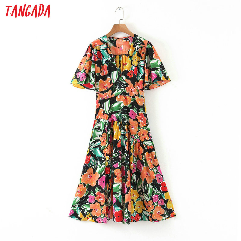 Tangada Fashion Women Print Summer Dress 2020 New Arrival Short Sleeve Ladies Side Zipper Midi Dress Vestidos QB147