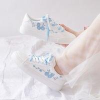 Nowe płótno trampki dla dzieci haft kwiat duże dziewczyny księżniczka buty dla dzieci białe trampki uroda Flora płaskie buty dla dziewczynek w Trampki od Matka i dzieci na