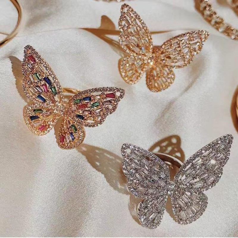 New Trendy Big Butterfly Ring Luxury Rhinestone Crystal Finger Rings Engagement Wedding Party Female Rings Animal Jewelry R01851-in Rings from Jewelry & Accessories on AliExpress