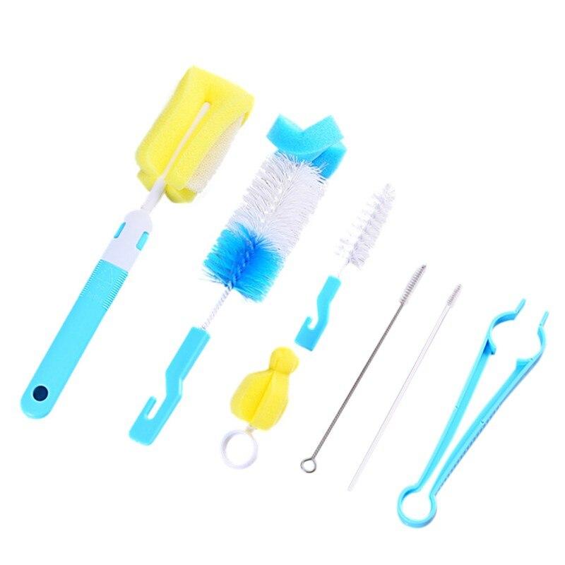 Baby Bottle Brush 7Pcs/set Sponge Cleaning Tools Straw Brush Nipple Brush For Feeding Bottle Cup