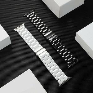 Image 3 - 3 Beads Ceramic Watchband for iWatch Apple Watch Series 5 4 3 2 1 38mm 40mm 42mm 44mm Women Men Band Wrist Belt Link Strap