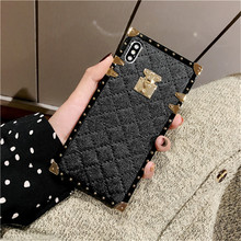 лучшая цена Stylish square sheepskin phone case  for VIVO X9 X9S X20 X20P X21Y79 Y75 X7 Y85 X23 Shockproof for VIVO X9 X9S X7 Plus FUNDA