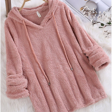 2019 New Womens Hoodies Pullover Autumn and Winter Solid Color Long-sleeved Hooded Wool Crop Sweatshirts Women Clothes