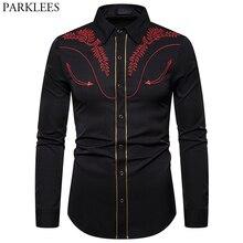 Męski haftowany wzór strzały zachodnia koszula stylowa koszulka Slim Fit z długim rękawem Party kowbojskie festiwale koszula na guziki Camisas