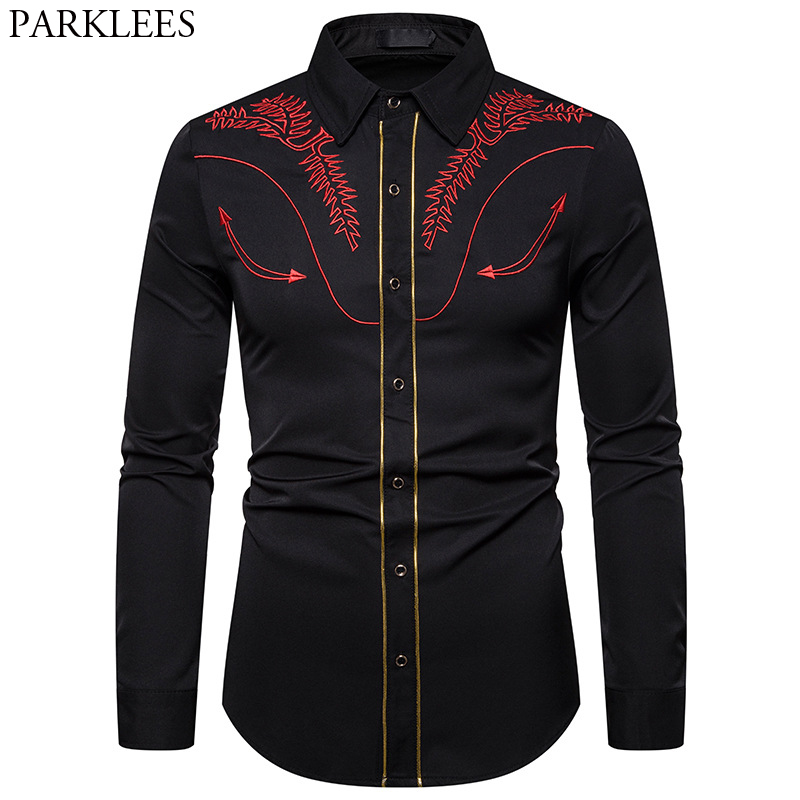 Men's Embroidered Arrow Design Western Shirt Stylish Slim Fit Long Sleeve Shirt Party Cowboy Festivals Button Down Shirt Camisas