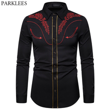 Mens Embroidered Arrow Design Western Shirt Stylish Slim Fit Long Sleeve Shirt Party Cowboy Festivals Button Down Shirt Camisas