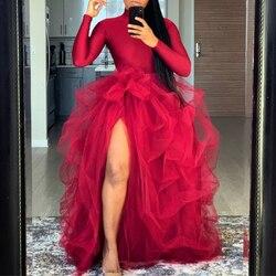 Ins Mode Rokken Tulle Princesa Robe De Mariee Custom Made Puffy Lange Rok Maxi Hoge Split Vrouw Tutu Rok
