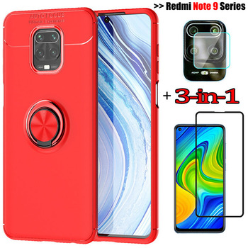3-in-1 phone cases + camera glass for redminote 9pro magnetic ring silicone cover xaiomi+redmi+note+9 tempered glass film redmi 9 s mi note 9s case cover redmi note 9 pro coque note9s glass case note9 xiaomi note 9 pro