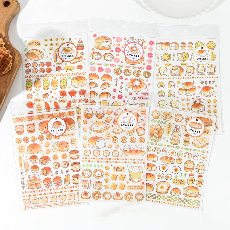 1Sheet Cute Foods Stickers Kawaii Cartoon Toast Bread Decor Stationery Stickers Paper Adhesive Sticker For Kids Diary Supplies