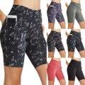 Женские шорты для йоги с высокой талией и принтом, с карманами, штаны для фитнеса, Женский корсет, велосипедные шорты для тренировок и йоги
