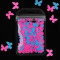 Бабочка с блестками для лака для ногтей, украшения для ногтей, гель-блестит флуоресцентный Цвет бабочка Форма 3D хлопья Ломтики для дизайна н...