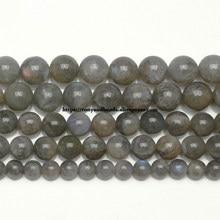 Cuentas redondas sueltas de piedra labradorita azul, piedra labradorita Natural semipreciosa, fabricación de joyas, 15