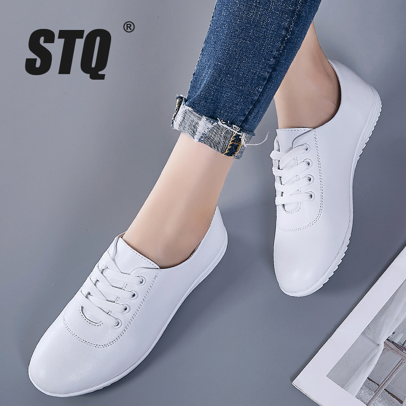 STQ 2020 Women Autumn Flats Loafers Shoes Women Genuine Leather Casual Shoes Female Winter Lace Up Sneakers Shoes 1966