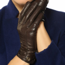 New fashion 2014  gloves EL001NR01ELMA winter women wrist genuine leather black lady sheepskin
