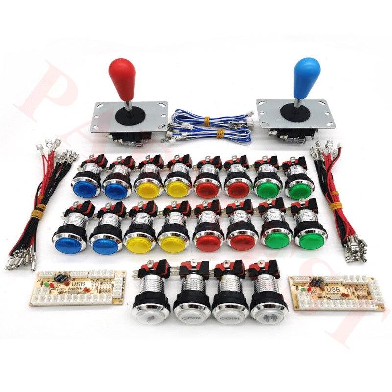 Arcade Joystick DIY Kit Zero Delay Arcade DIY Kit 2 Players Keyboard USB Encoder To PC Arcade Joystick+chrome Led Push Buttons