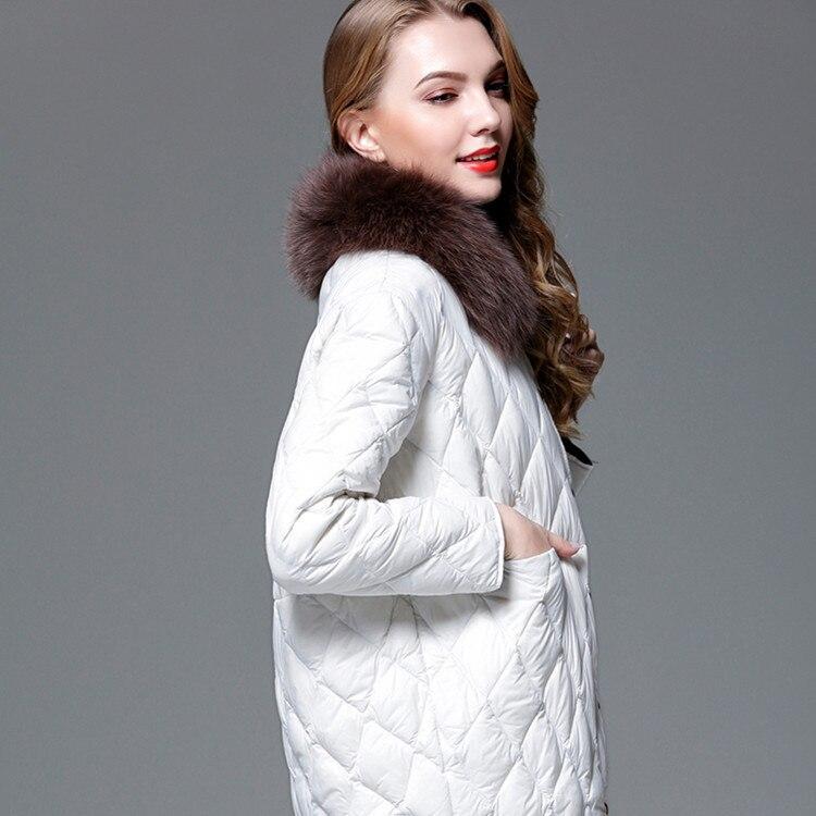 Down Women's 2020 Jacket Autumn Winter White Duck Down Coat Female Light Korean Puffer Jacket Fox Fur Collar 8729 KJ3080