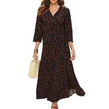 Женское платье макси в горошек с v образным вырезом и рукавом