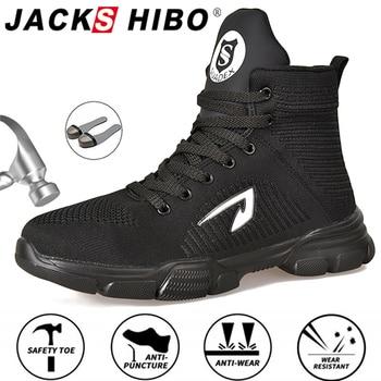 JACKSHIBO All Season Men Safety Work Boots Shoes Anti-smashing Steel Toe Cap Indestructible Working Pluse Size 48 - discount item  48% OFF Men's Shoes