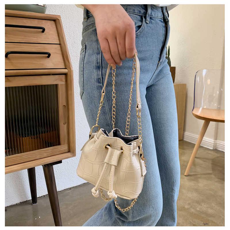 2020 Trend w modzie kobiety Alligator skóra ekologiczna z wzorem torebka wiadro łańcuch pasek sznurkiem torba na ramię Mini torebki Crossbody