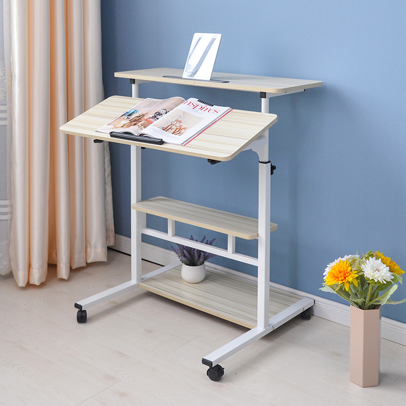 Movable Computer Desk Standing Laptop Desks for Bedroom Adjustable Lift Up Bed Table Big Table Size