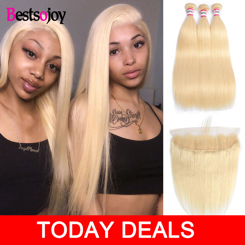 Bestsojoy 613 Blonde Bundles With Frontal Brazilian Straight With Frontal Blonde Human Hair Lace Frontal Closure