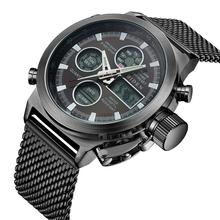 BIDEN New Fashion Men Watches Quartz Wrist Watch Waterproof LED Display Sports Calendar Mesh Stainless Steel Clock Montre Homme