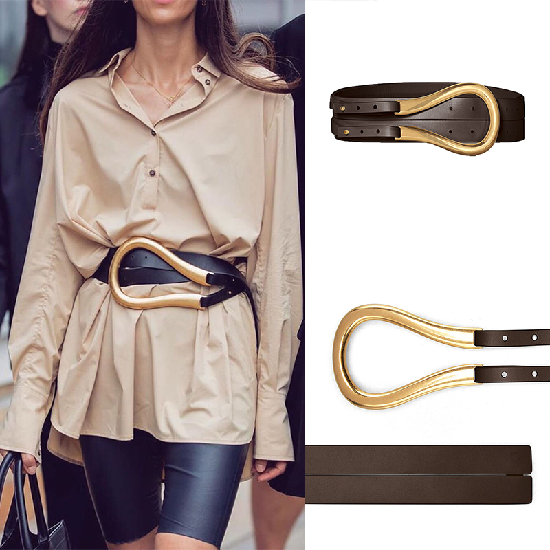 Designer Belt High Quality Genuine Leather Belts For Women Luxury Brand Fashion Waist Wide Waistband For Coat Shirt