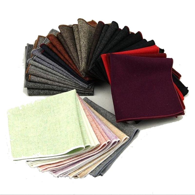 2pcs Finest Wool Handkerchief For Men Pocket Square Towel Hankie Accessories Men's Kerchief Quality Personalized Handkerchiefs
