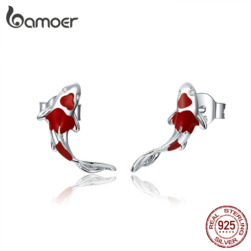 bamoer Fish Red Enamel Stud Earrings for Women 925 Sterling Silver Spring Koi Ear Studs Festival Silver Fashion Jewelry SCE812