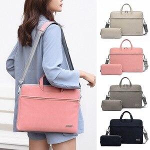 Puimentiua Men Women Laptop Bags Notebook Carrying Case Briefcase For Macbook Air 13.3 14 15.6 Inch Handbags Shoulder Mouse Bag