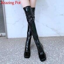 Krazing Pot/популярные зимние теплые удобные Стрейчевые сапоги, женские простые ботфорты из коровьей кожи с квадратным носком на высоком каблуке, L87