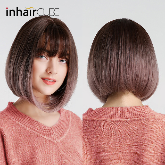 Inhair Cube 10 Inches Bob Synthetic Flat Bangs Women Wig Ombre with Highlight Short Straight Hair Wig  Cosplay Hairstyle