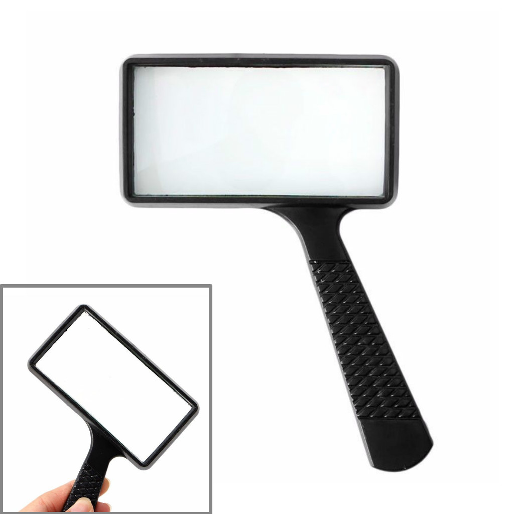 Large Magnifying Glass 3X Magnifier Handheld Rectangular For Reading Coin Stamp Tiny Prints