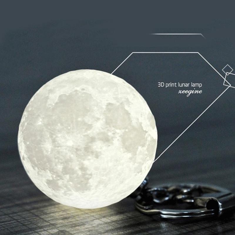 Portable Moon Light 3D Printing Keychain LED Night Lamp Creative  Decoration Gifts Bag Backpack Decor Night Light