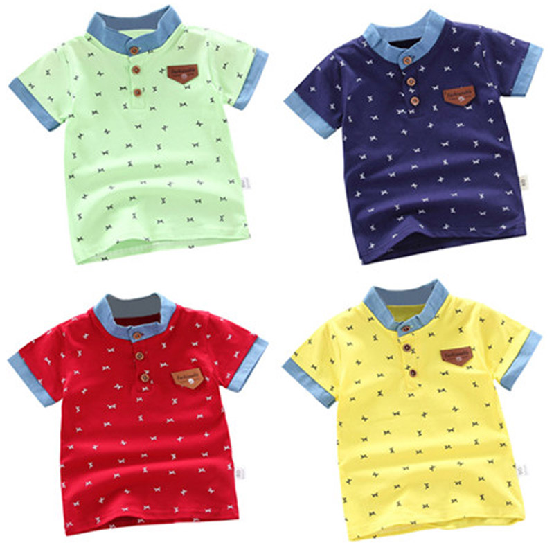 Kids Letter M Cartoon Polo Shirt Boys Clothes Summer Cotton Shirts Shorts 1-5 Years Children Breathable Lapel Tops Costume